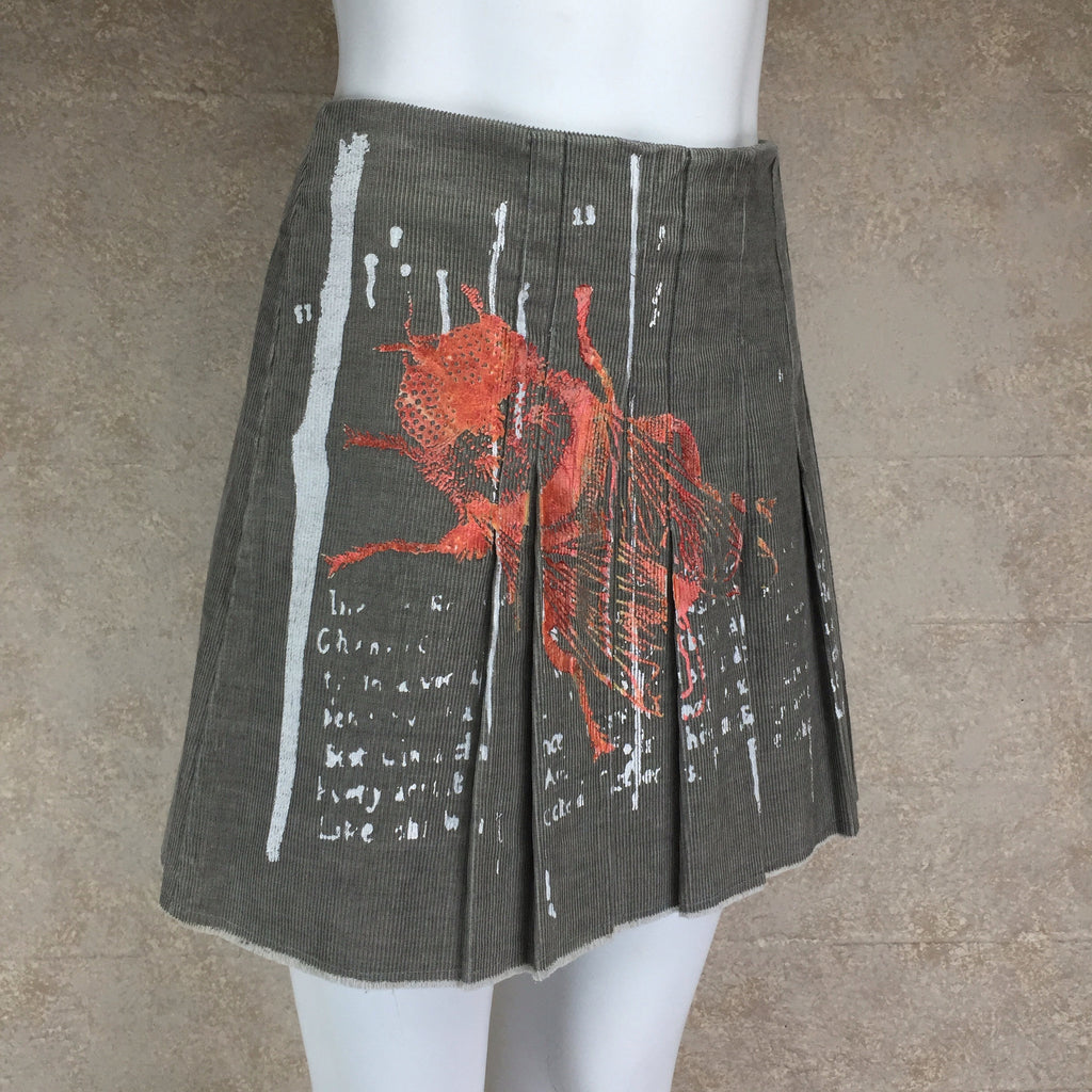 "2000s ""Just Cavalli"" Silkscreened Cordoroy Skirt, Side"