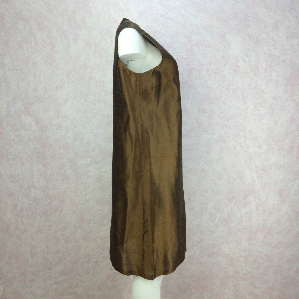 2000s Bronze Silk Sheath Dress, NWTf