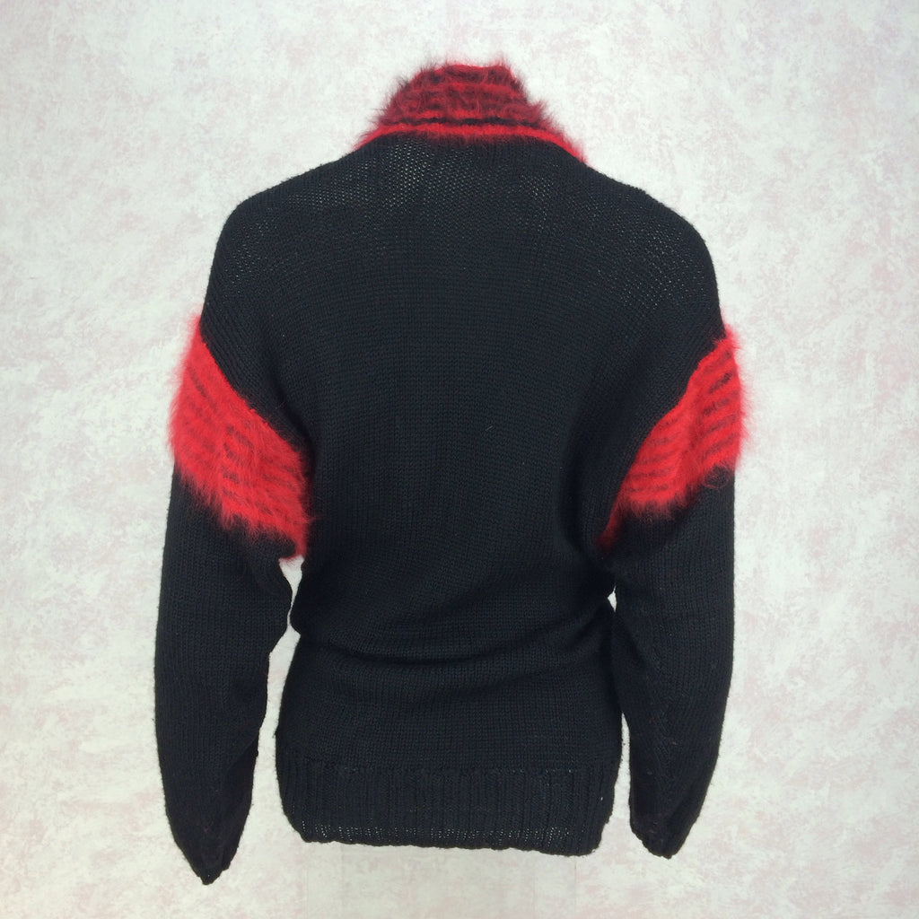 Vintage 90s Hand Knit Sweater w/Angora Stripes, Back