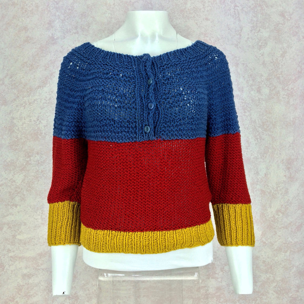 Vintage 90s Handknit Color Blocked Sweater, Front