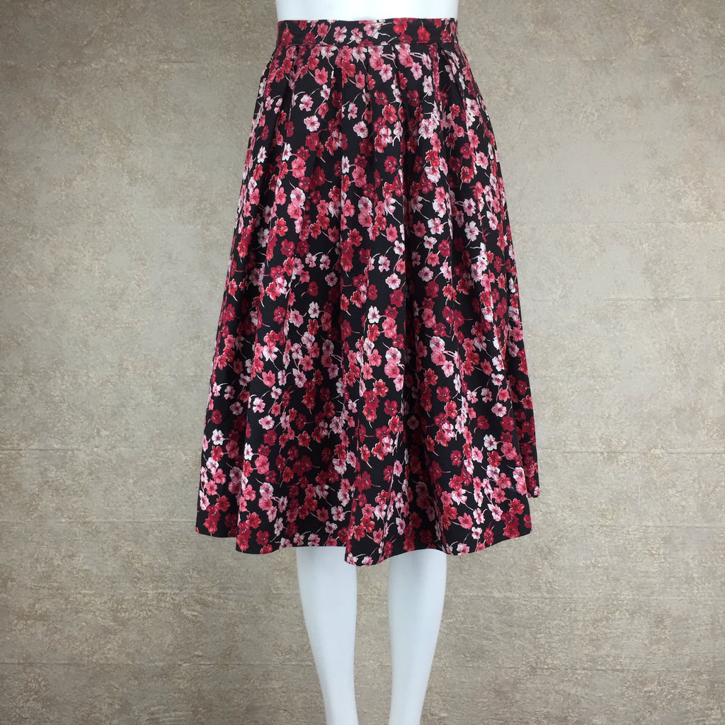 Vintage 60s Cotton Floral Full Dirndl Skirt, Side