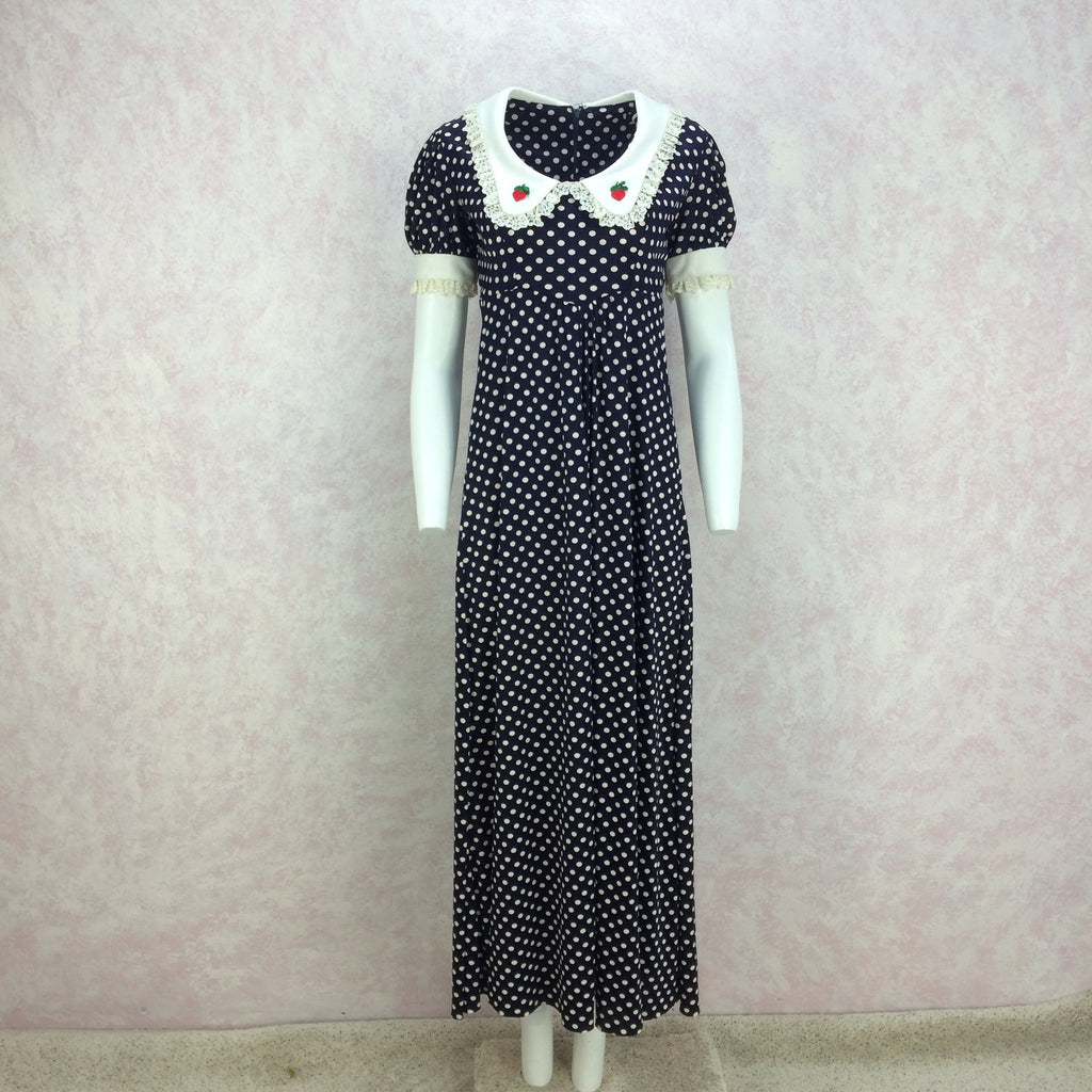 Vintage 70s Polka Dot Scoop Neck Maxi Dress, front