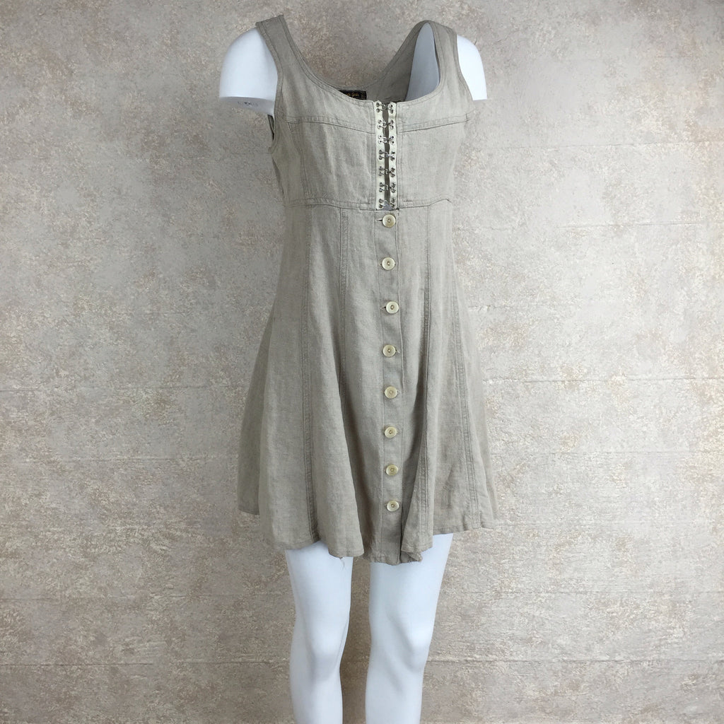 Vintage 90s Linen Dress w/Hook Front, Side