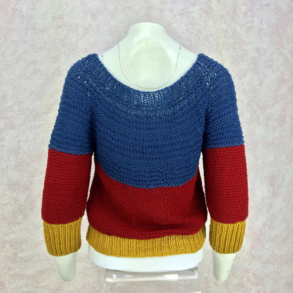 Vintage 90s Handknit Color Blocked Sweater, Back