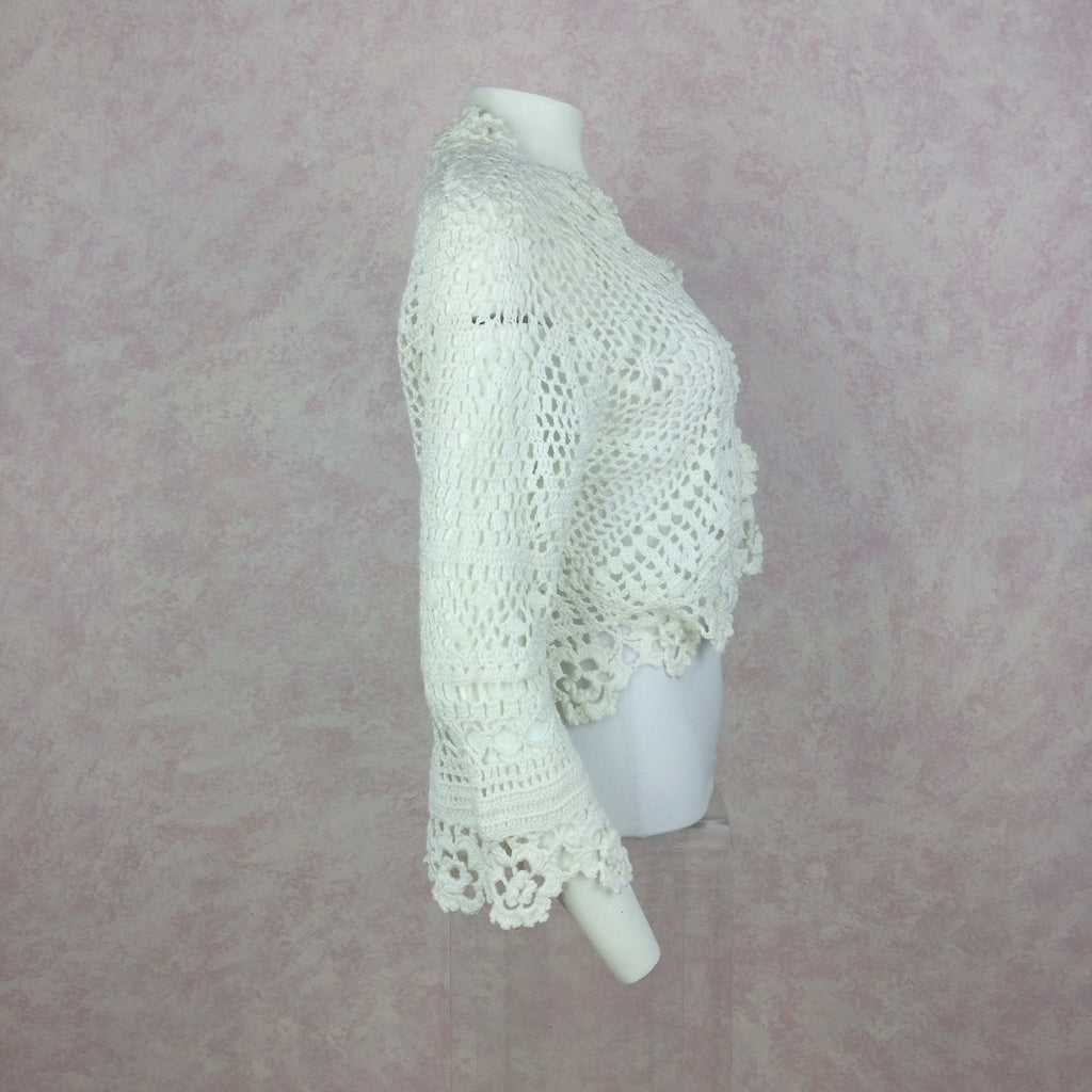 2000s THE WRIGHTS White Cotton Crochet Sweater, Side 2