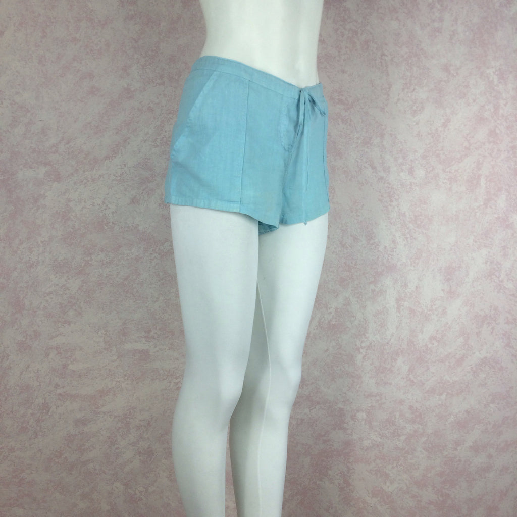 2000s JUICY COUTURE Linen Teal Shorts s2