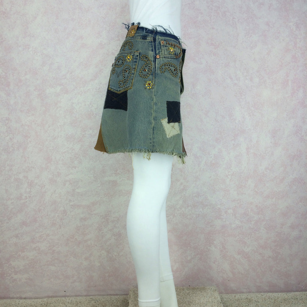 2000s Repurposed Denim Skirt w/Studs & Patches, Side 2