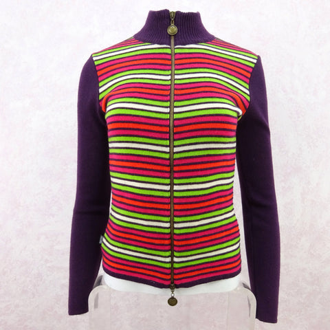 Vintage 90s MISSONI Multi-Color Stripe Bouclé Cardigan