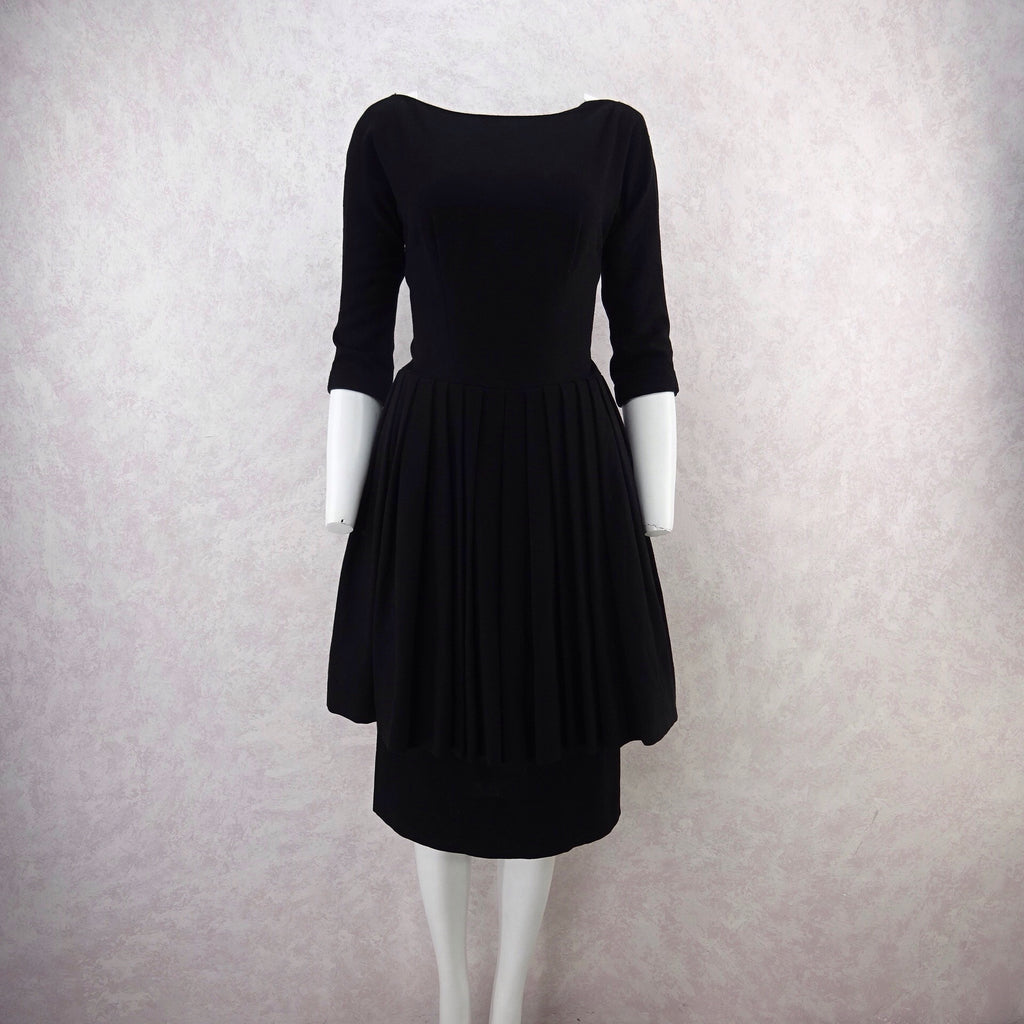 Vintage 50s GIGI YOUNG Black Tiered Cocktail Dress, F
