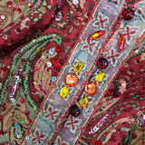 2000s Silk Paisley Tunic w/Colorful Beading Detail, Detail