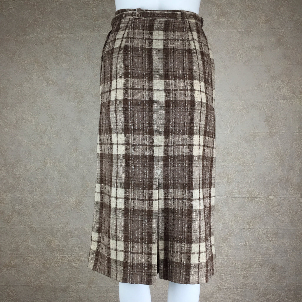 Vintage 50s Plaid Tweed Skirt w/Belt back