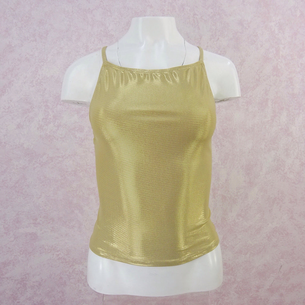 2000s Gold Stretch Racer Back Tank, NOS f