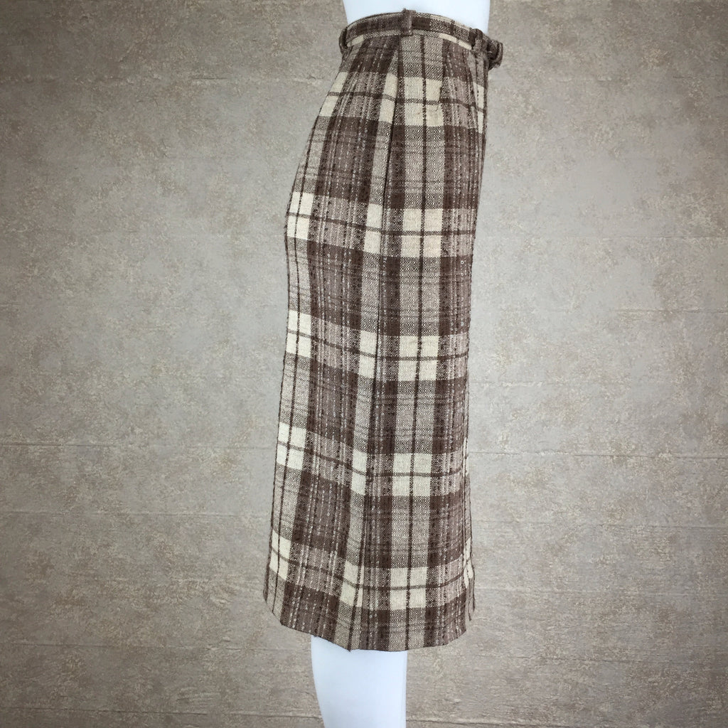 Vintage 50s Plaid Tweed Skirt w/Belt side