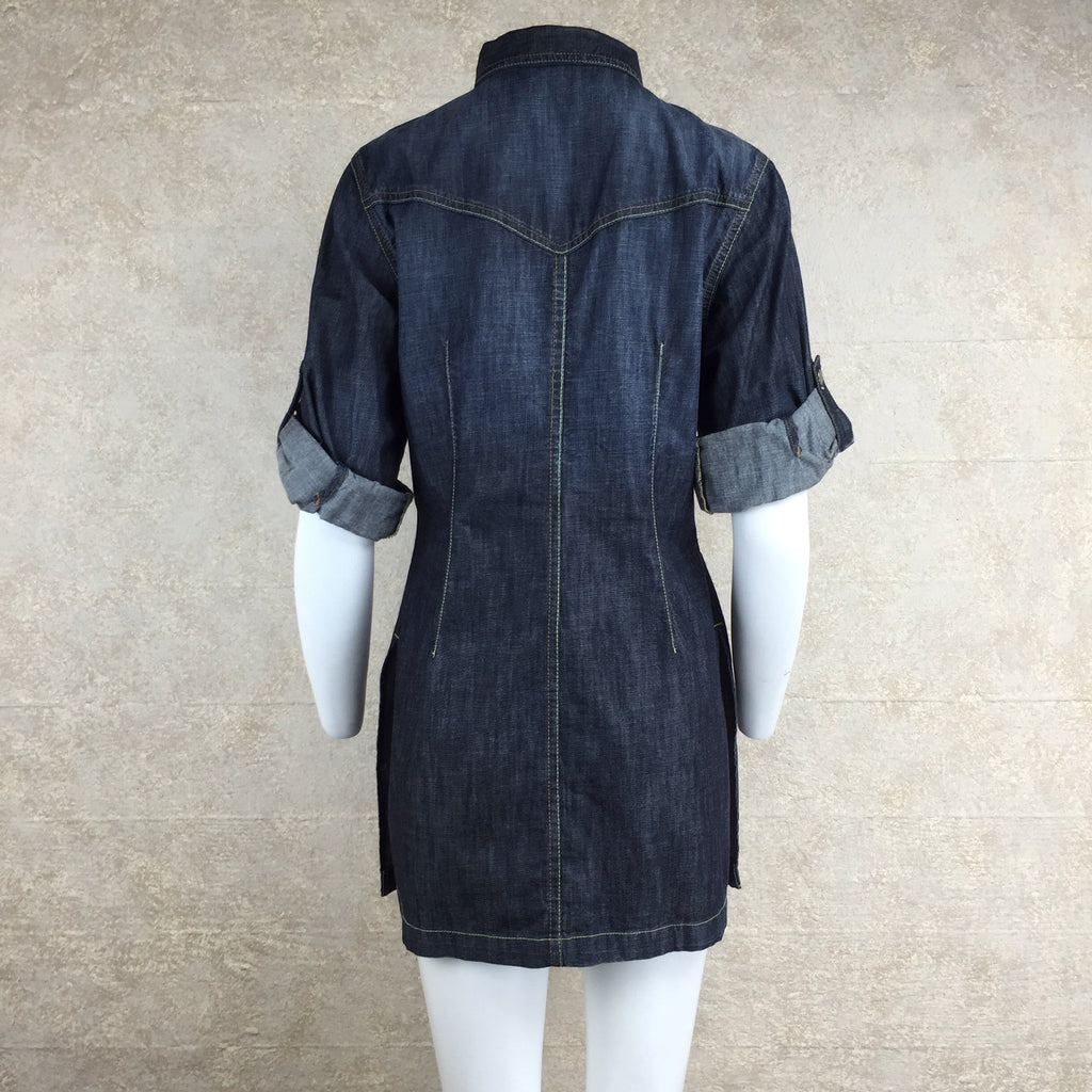 2000s Level 99 Denim Shirt Dress, Back