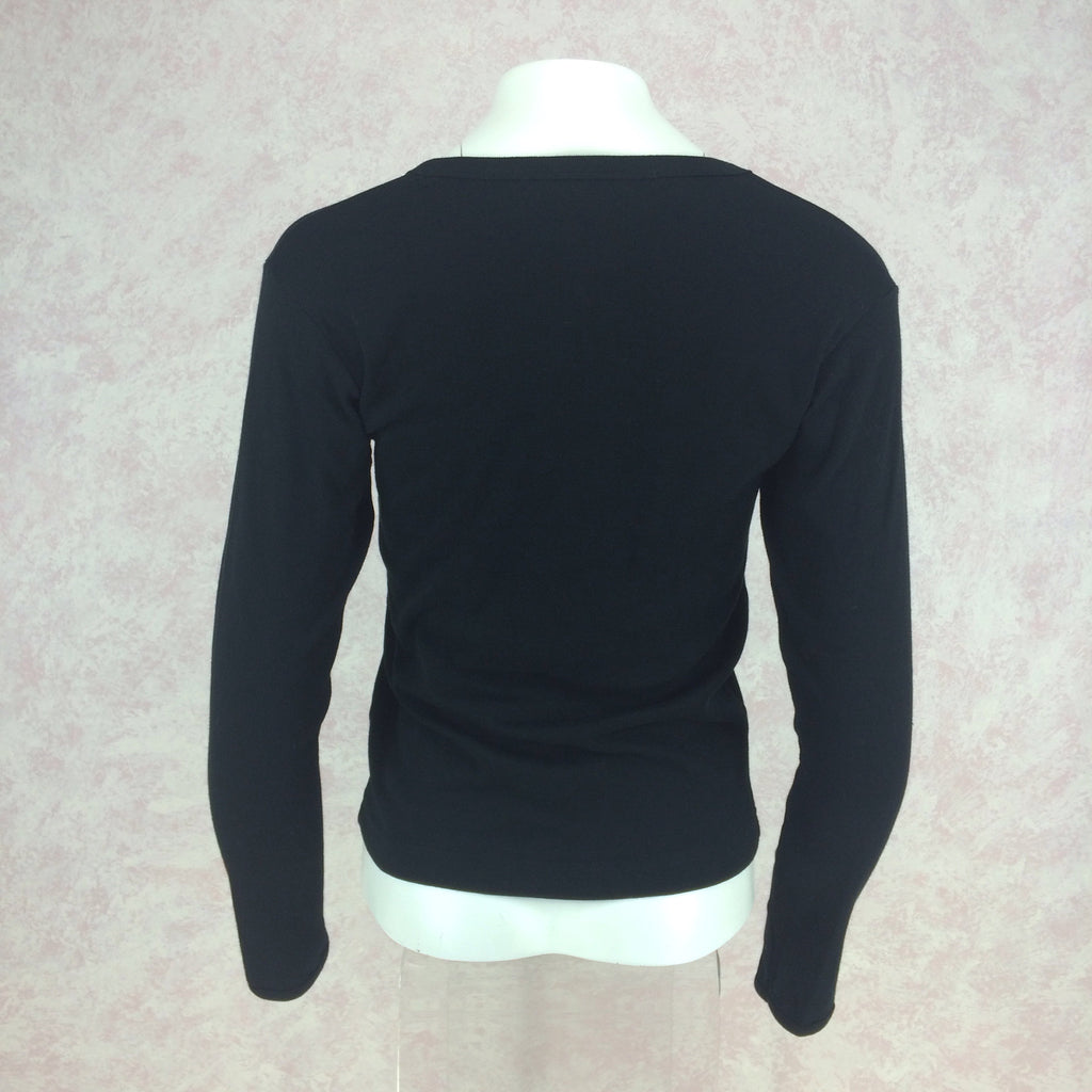2000s SUSS Black Cotton Knit Top w/Embroidered Horse, Back