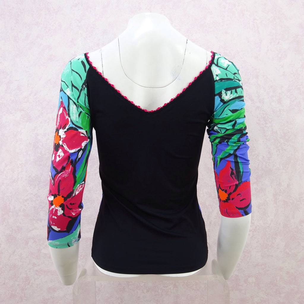 2000s ANNA MOLINARI Floral Stretch Knit Top, NOS