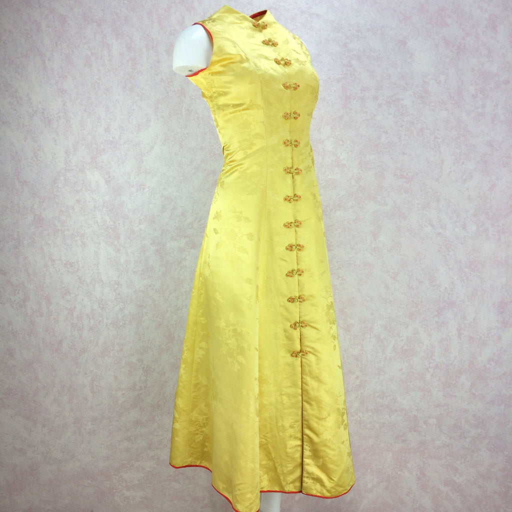 Vintage 50s Silk Chinese-Style Hostess Dress, Side