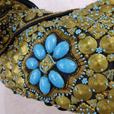 2000s Brass Disc and Turquoise Beaded Pouch Bagd