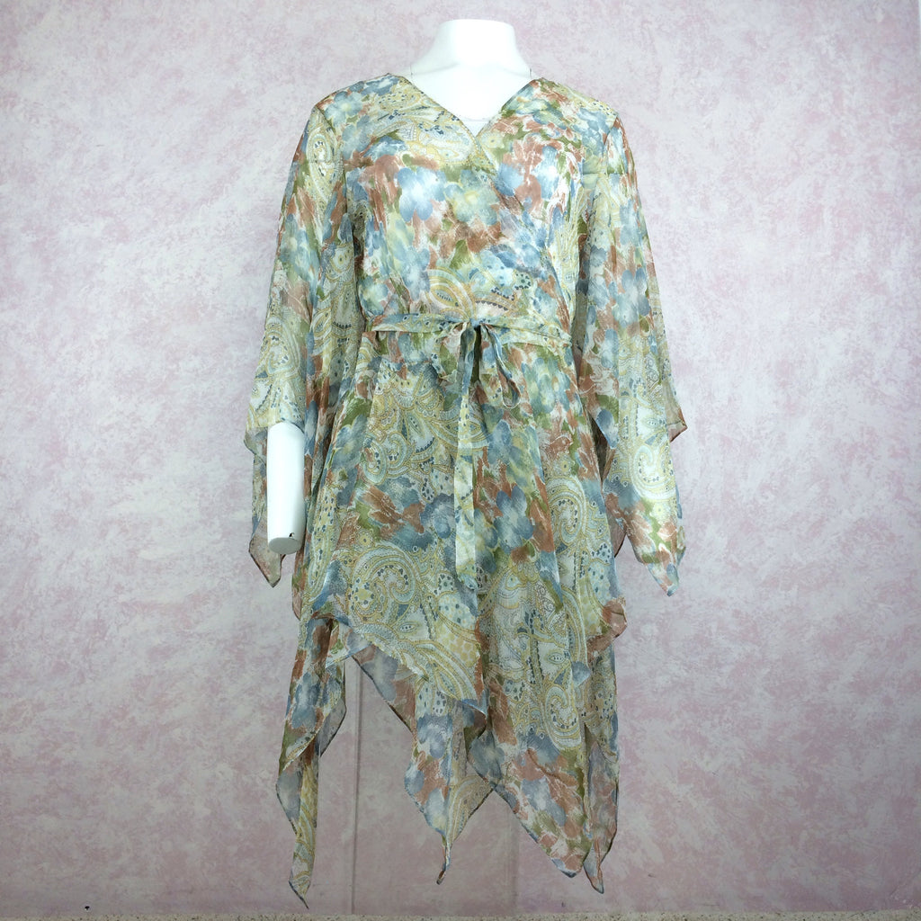 2000s JOIE Silk Paisley Print Chiffon Gypsy Blouse, NOS