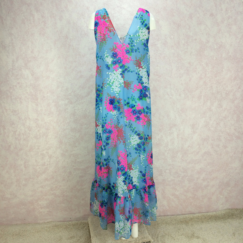 Vintage 70s Floral Flowing Organza Maxi Dress, Back