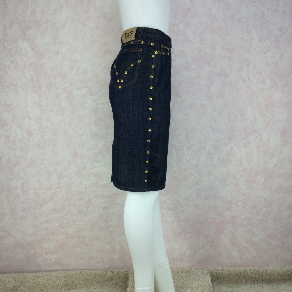 2000s D&G Denim Skirt w/Studs, Side 2