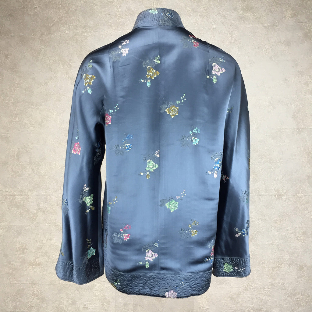 Vintage 60s Chinese Satin Floral Brocade Jacket, back