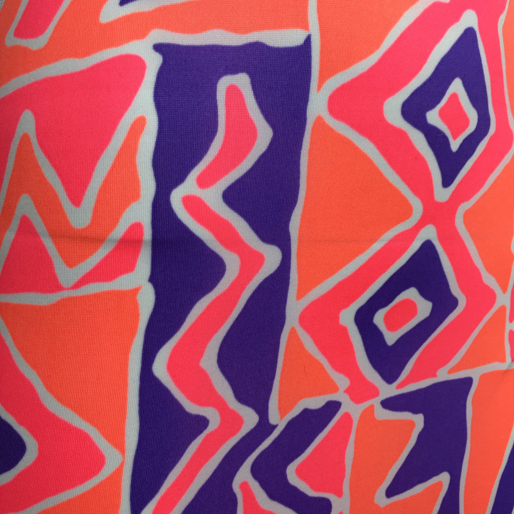 Vintage 90s Orange Memphis Print Stretch Dress, Detail
