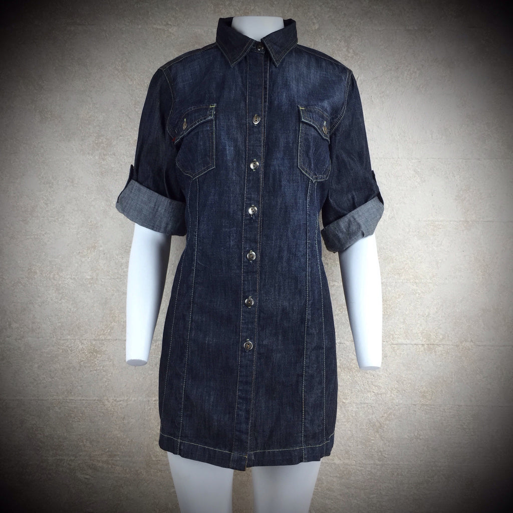 2000s LEVEL 99 Denim Shirt Dress, NOS