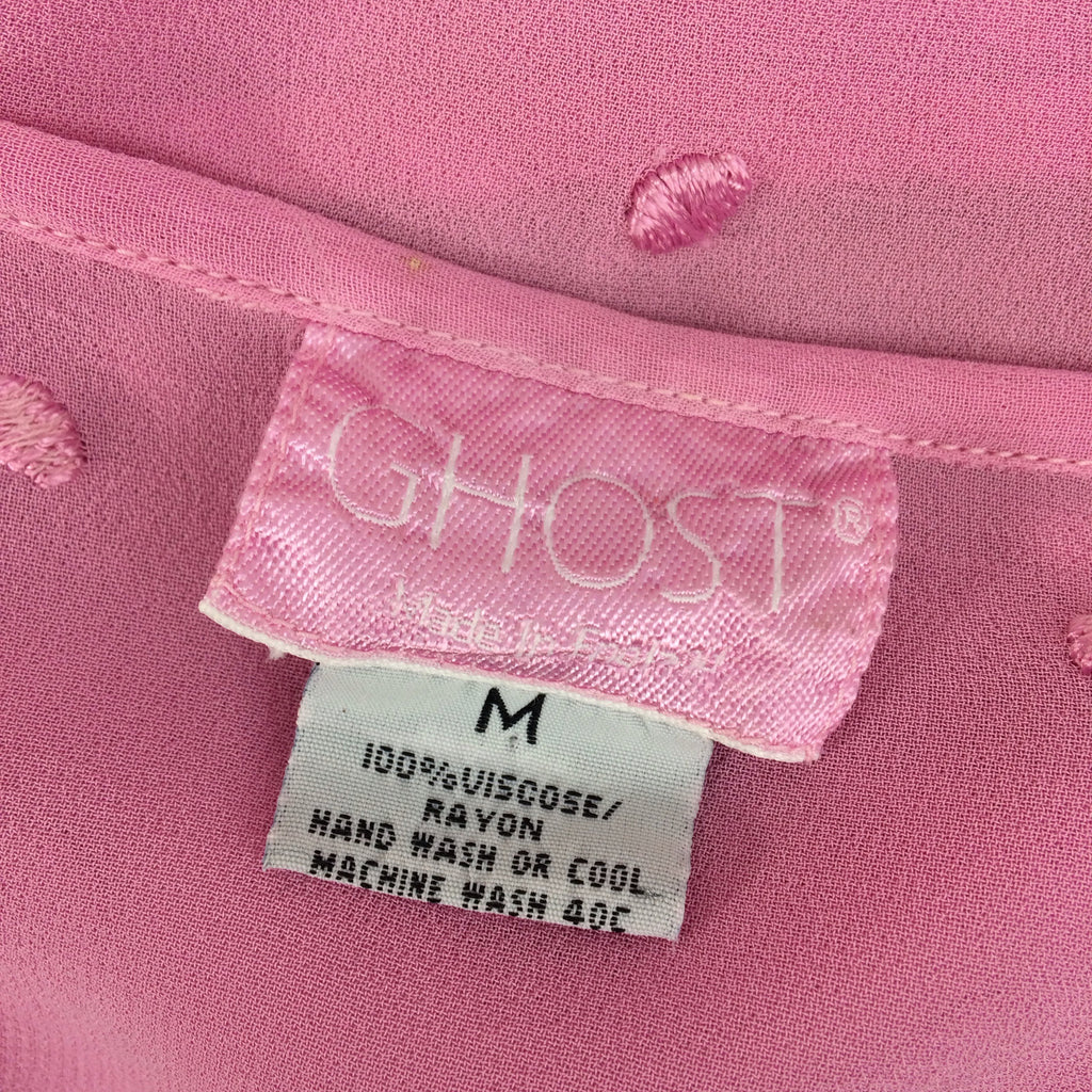 2000s GHOST Pink Swiss Dot Button Front Top, Label