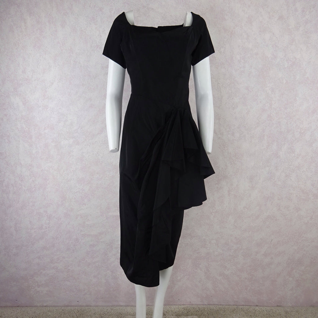 Vintage 40s Taffeta Dress w/Multi-Layered Side Draping