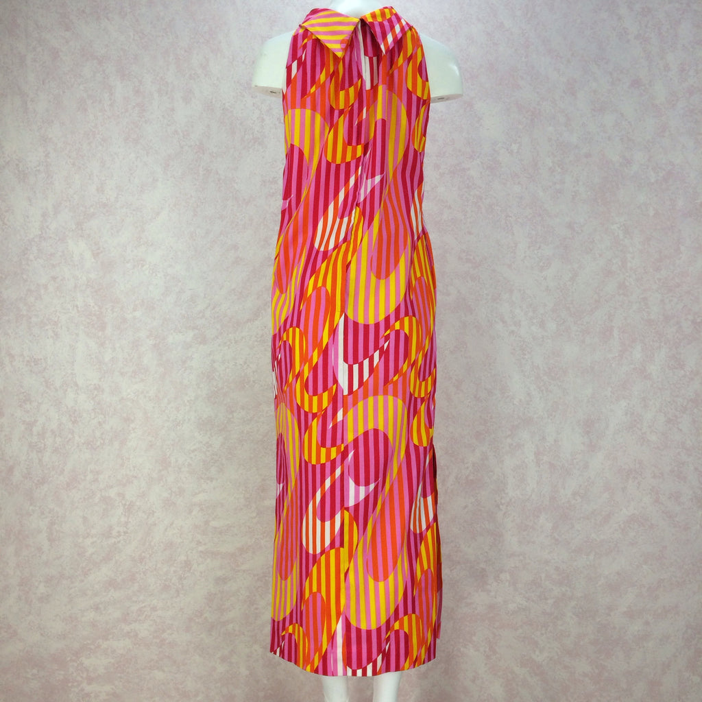 Vintage 70s Bold Op-Art Hawaiian Maxi, Back