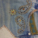 2000s Repurposed Denim Skirt w/Studs & Patches, Detail