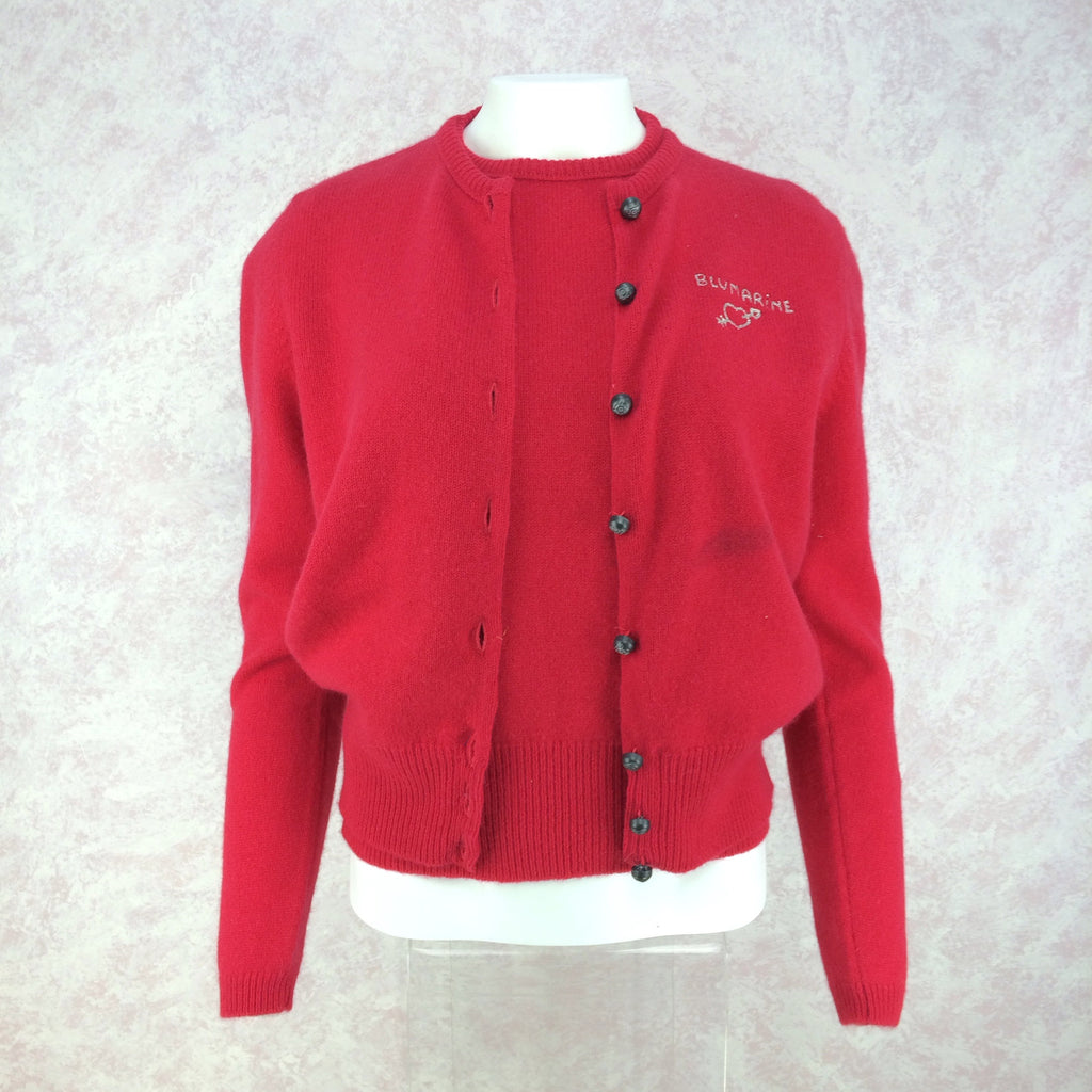 2000s BLUMARINE Knit Twinset, Red. Front