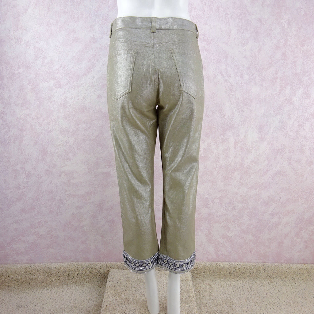 2000s DKNY Metallic Capris w/Trim @ Hem back