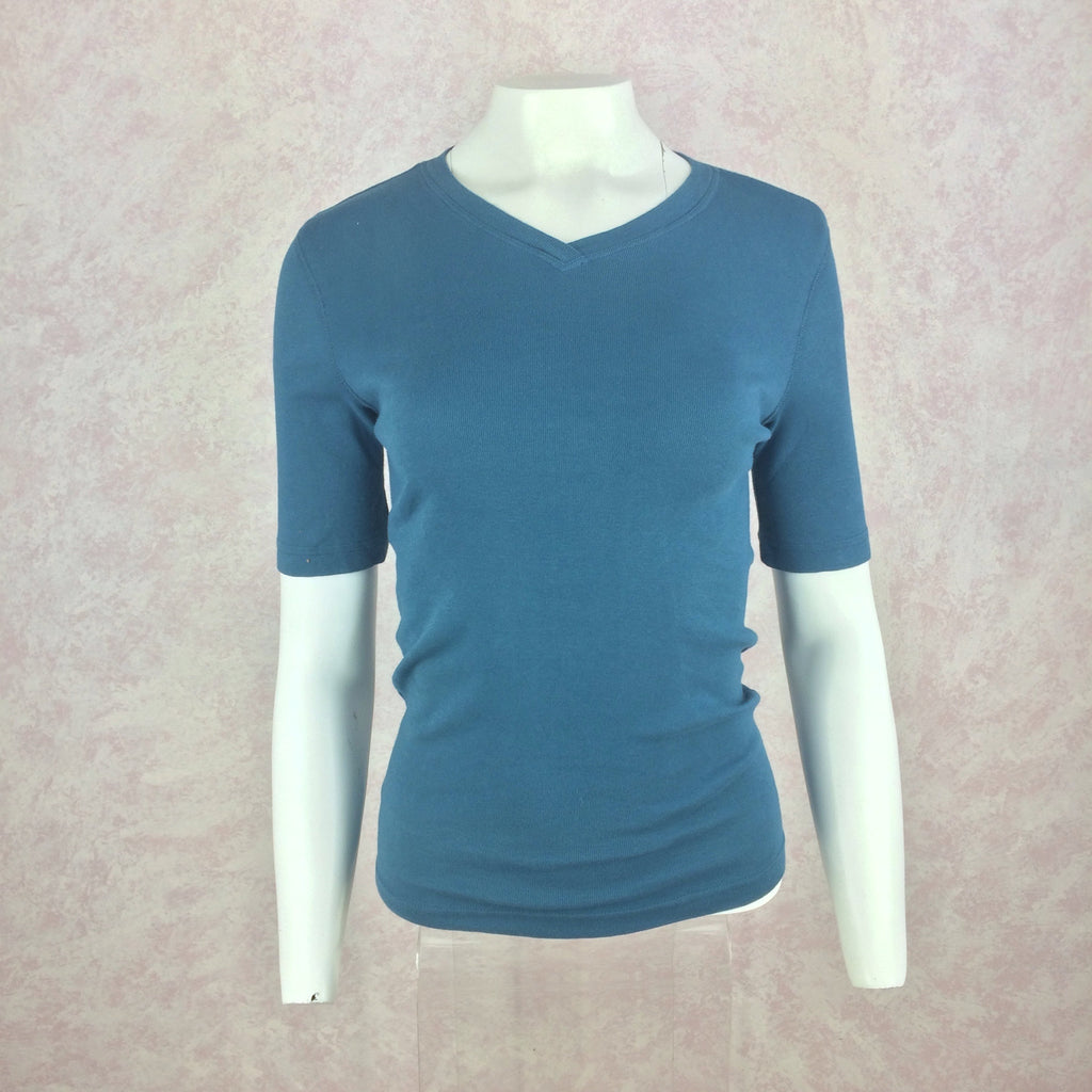 2000s BLUE SYSTEM Cotton Knit V-Neck T-Shirt, Front
