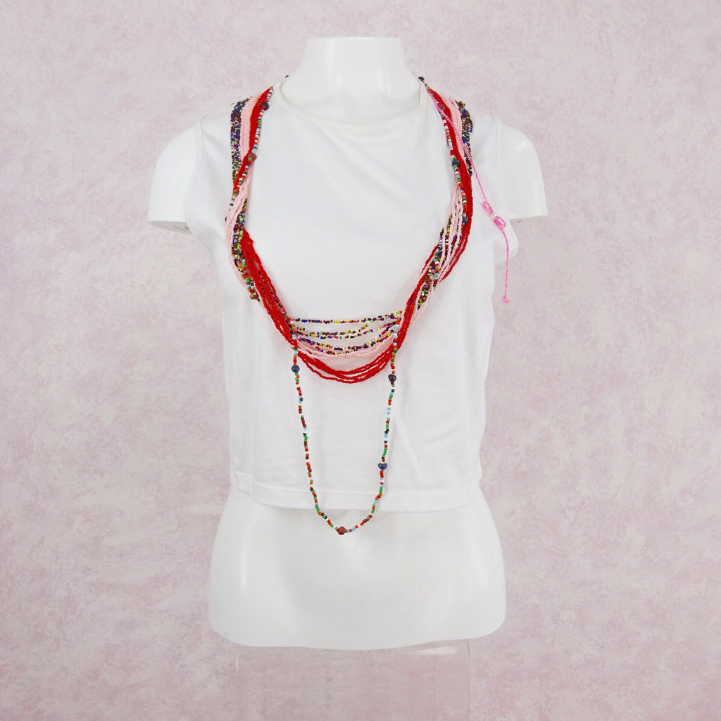 Cotton Knit Crop Top w/Attached Beaded Necklaces, Front