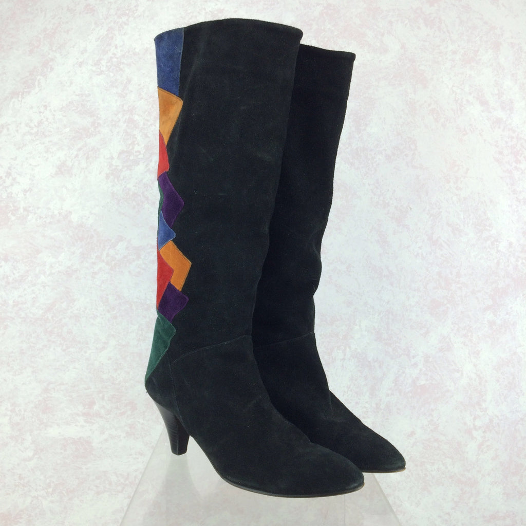 Vintage 90s Suede Color Blocked Boots, side