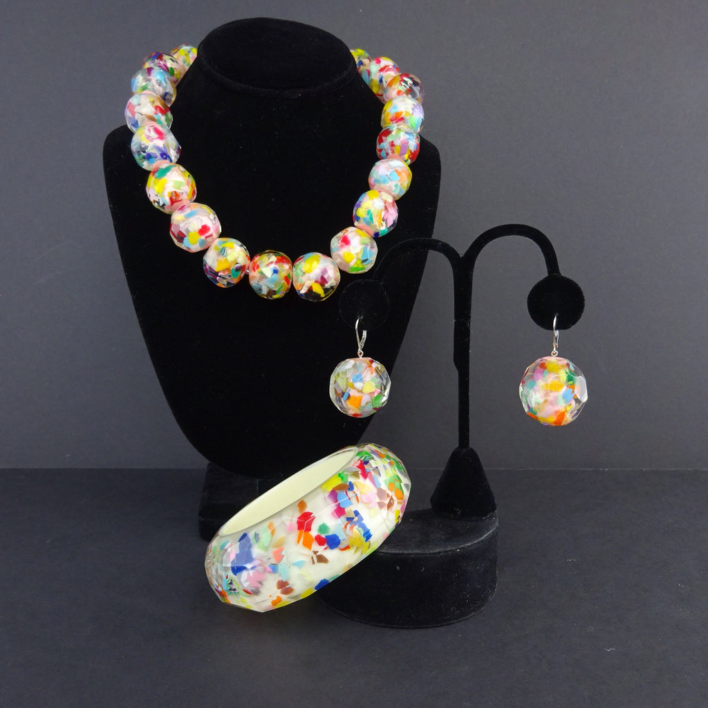 "2000s Faceted ""Confetti"" Resin Ball Earringsf"