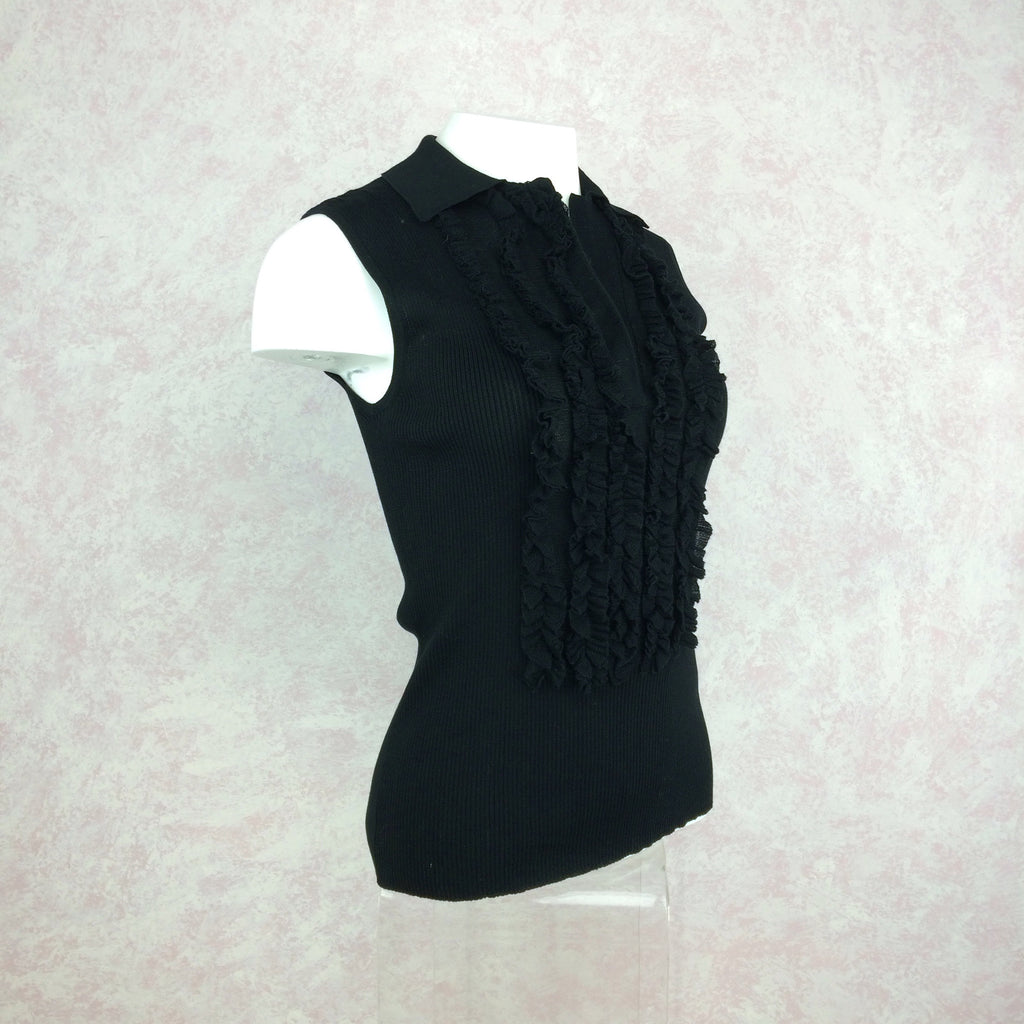 2000s THE WRIGHTS Ribbed Shell w/Ruffle Tux Front side