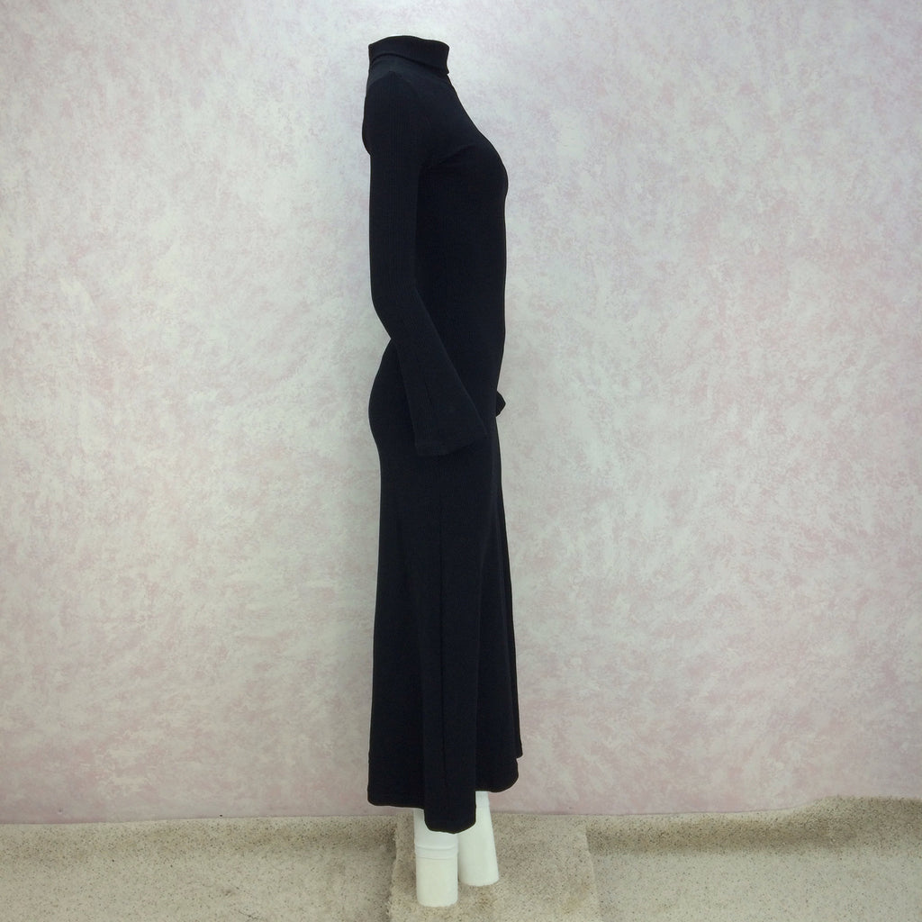 2000s Black Classic Knit Turtleneck Gown, Side