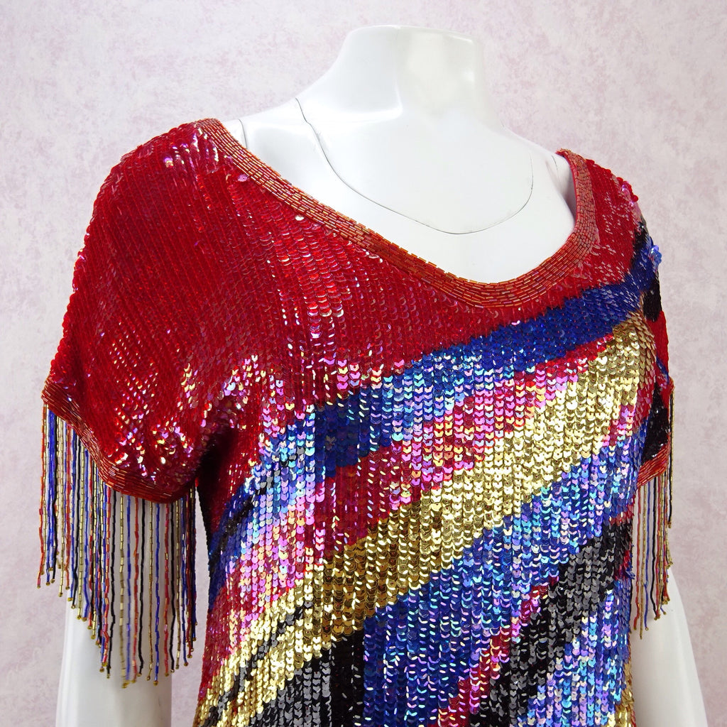 Vintage 80s Solid Colorful Sequin Dress w/Beaded Fringe f