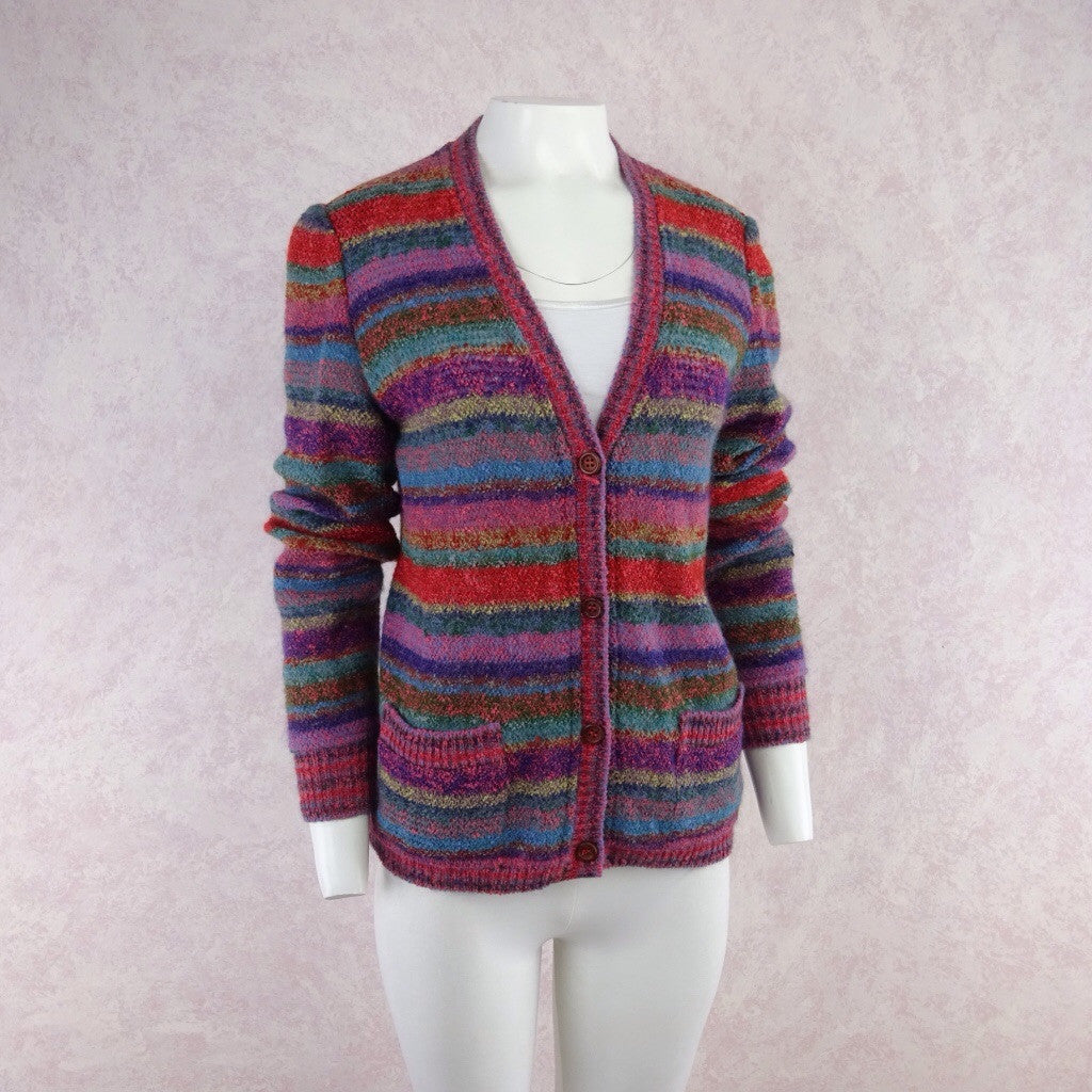 Vintage 90s MISSONI Multi-Color Stripe Bouclé Cardigan f