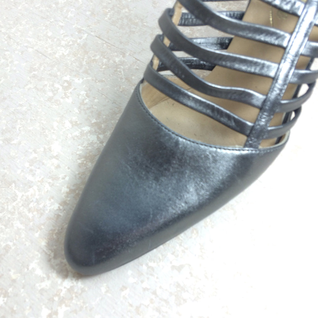 Vintage 90s COUTURE Cage-Front Pewter Shoes, Toe