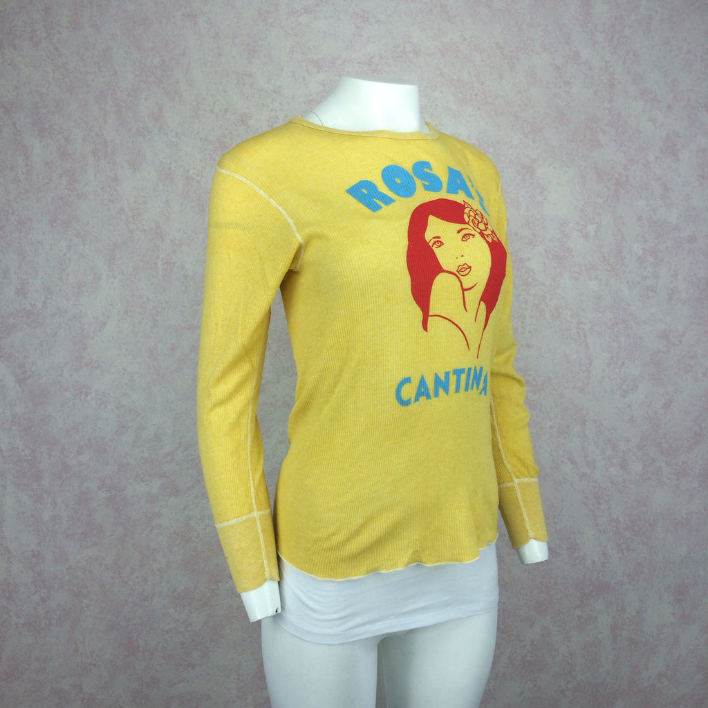 "2000s Distressed Knit Shirt w/""Rosa's Cantina"" Print, Side"