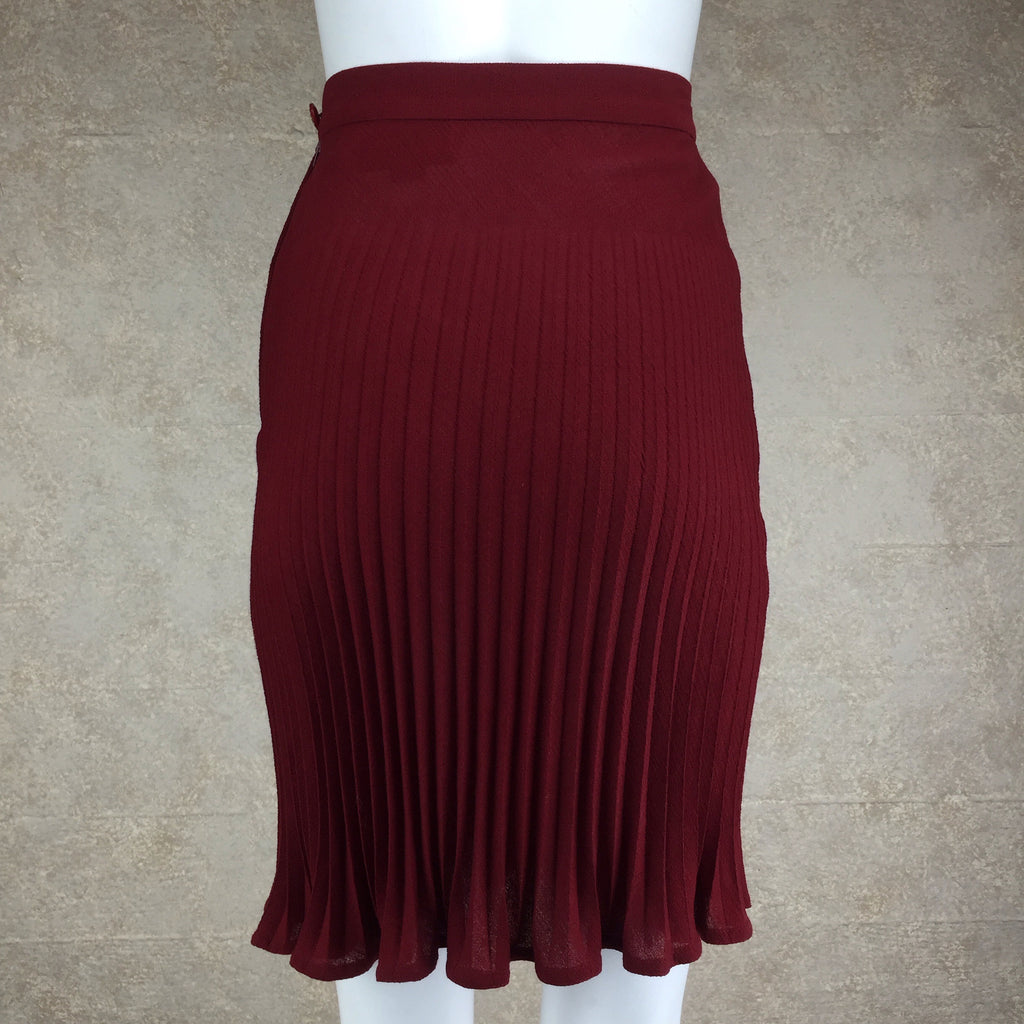 Vintage 80s UNGARO Wool Pleated Skirt, back