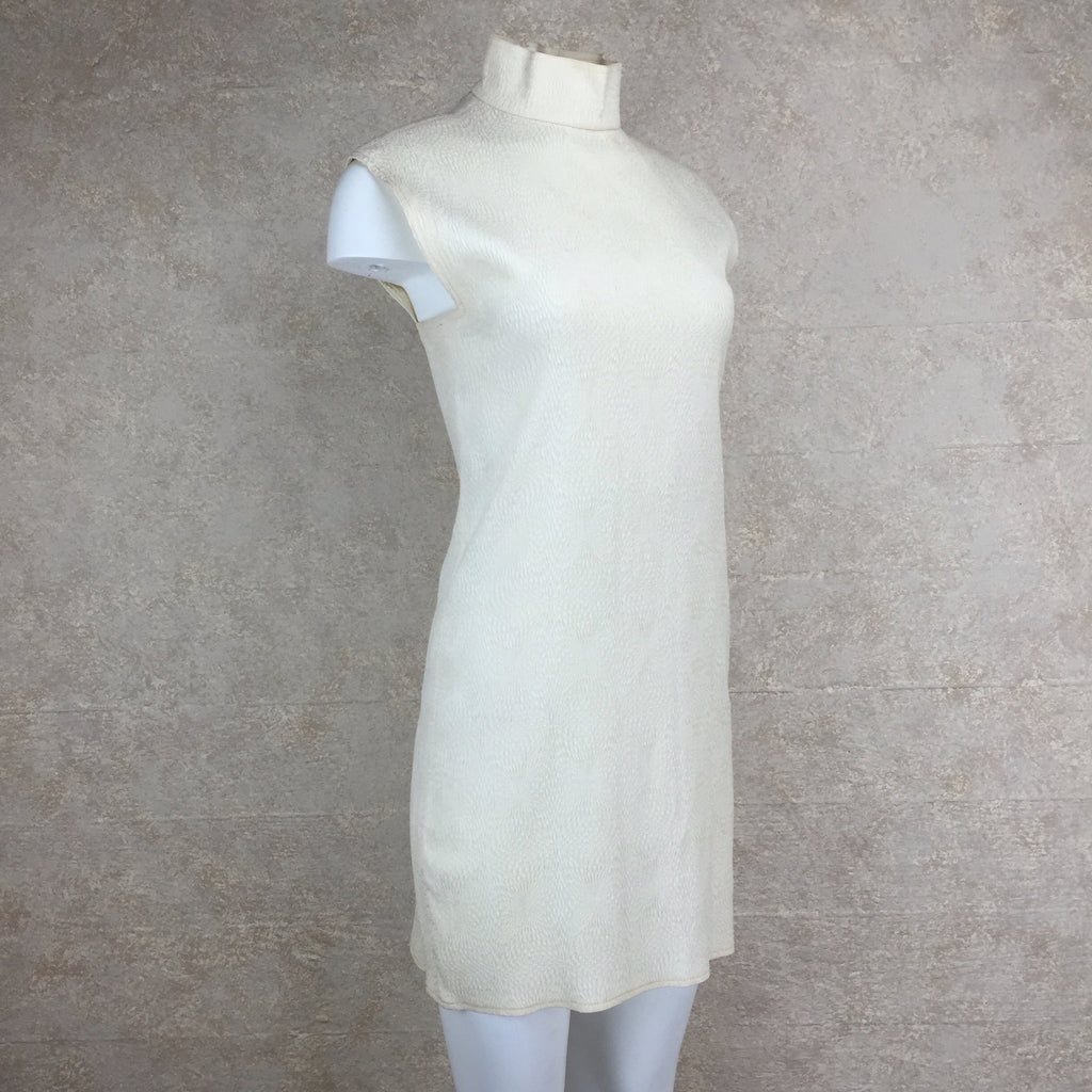 Vintage 90s PERRIS Silk Dress w/Mandarin Collar, side