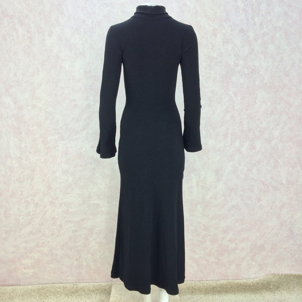 2000s Black Classic Knit Turtleneck Gown, Front