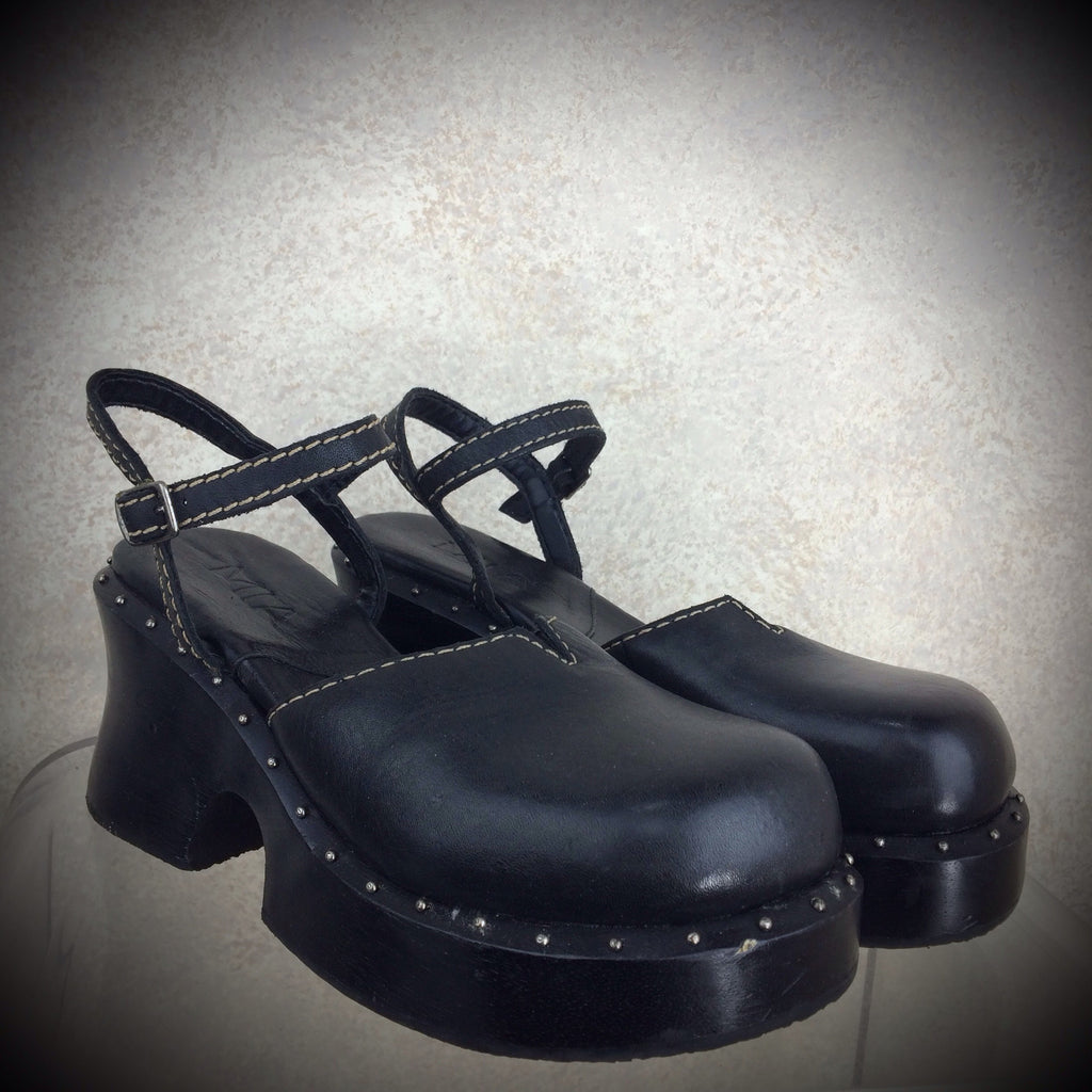 2000s MIA Wood & Leather Clogs, NOS