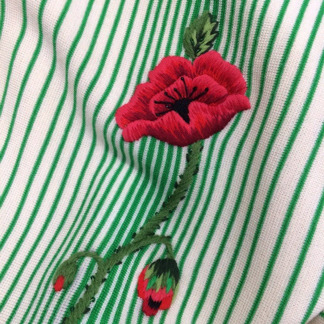 Vintage 60s Striped Knit Dress w/Embroidered Rose, Detail