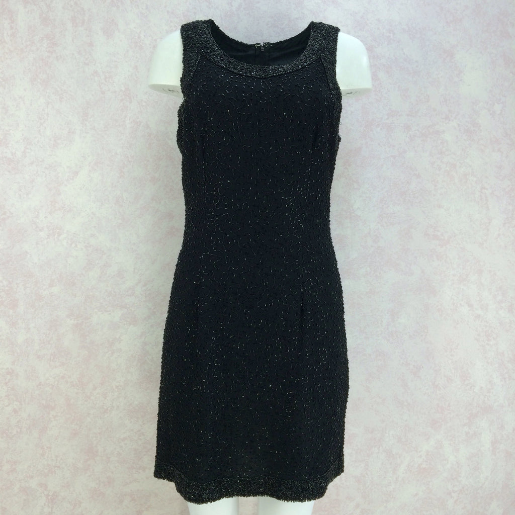 2000s Black Chiffon Beaded Sheath Dress
